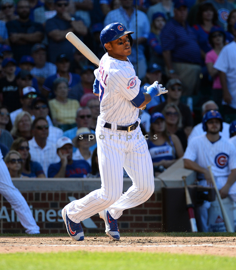 Chicago Cubs Addison Russell (27) during a game against the San Francisco Giants on September 3, 2016 at Wrigley Field in Chicago, IL. The Giants beat the Cubs 3-2.