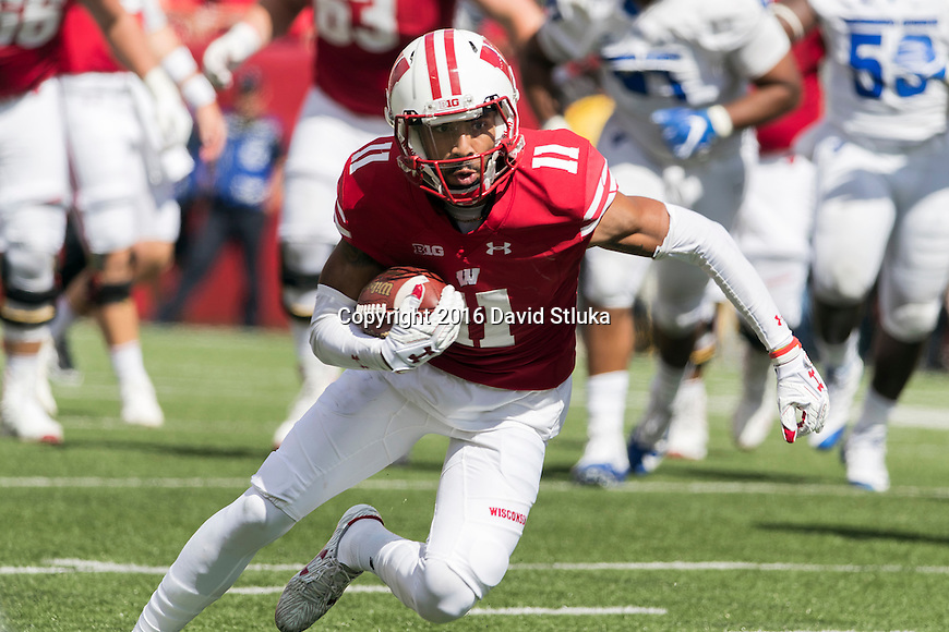 Wisconsin Badgers wide receiver Jazz Peavy (11) gains yardage after a reception during an NCAA college football game against the Georgia State Panthers Saturday, September 17, 2016, in Madison, Wis. The Badgers won 23-17. (Photo by David Stluka)