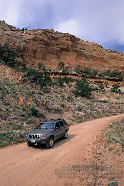 Driving on the Shafer Trail Road into Shafer Canyon, Island in the Sky District, Canyonlands National Park, UTAH