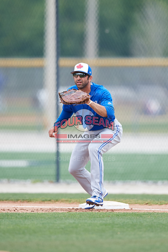 Toronto Blue Jays Jason Leblebijian during a Minor League Spring Training Intrasquad game on March 31, 2018 at Englebert Complex in Dunedin, Florida.  (Mike Janes/Four Seam Images)