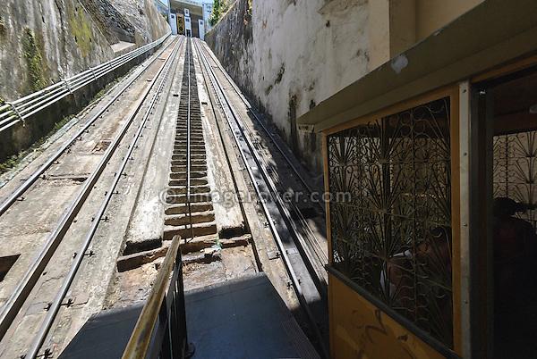 Brazil, Bahia, Salvador: The Plano Inclinado Goncalves (Goncalves Funicular Railway) provides a convenient way to travel between the Comercio neighbourhood and Pelourinho. --- No releases available.