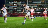 Picture by Allan McKenzie/SWpix.com - 17/04/2015 - Rugby League - Ladbrokes Challenge Cup - Wakefield Trinity Wildcats v Halifax RLFC - Rapid Solicitors Stadium, Wakefield, England - Wakefield's Craig Hall on his way to scoring.