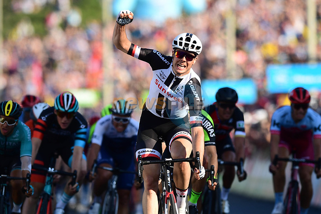 Maximilian Richard Walscheid (GER) Team Sunweb wins Stage 3 of the Tour de Yorkshire 2018 running 181km from Richmond to Scarborough, England. 5th May 2018.<br /> Picture: ASO/Alex Broadway | Cyclefile<br /> <br /> <br /> All photos usage must carry mandatory copyright credit (© Cyclefile | ASO/Alex Broadway)