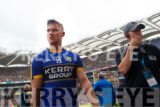 James O'Donoghue Kerry players after being defeated by Mayo in the All Ireland Semi Final Replay in Croke Park on Saturday.