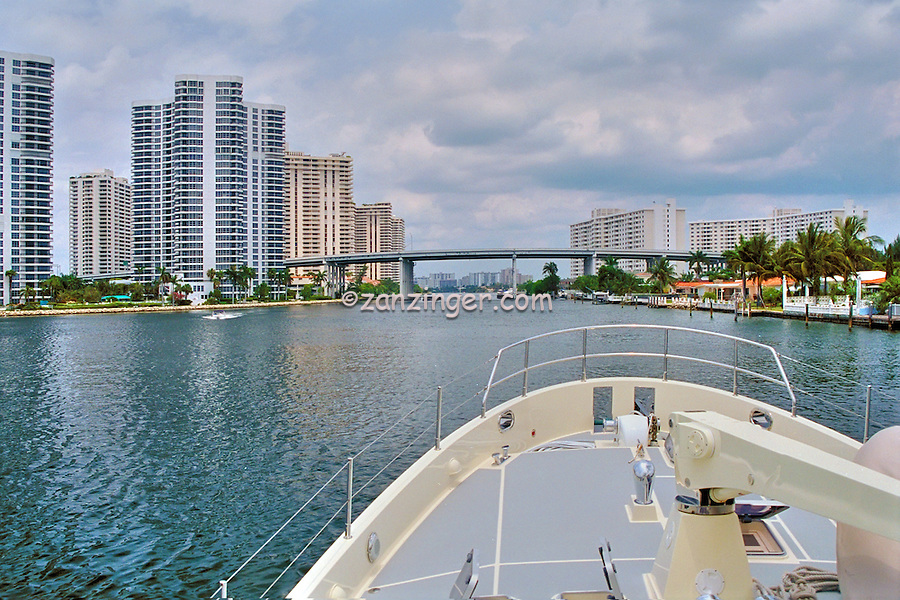 Intercoastal Waterway, Miami  Florida, USA, Skyline, Intracoastal Waterway, connects, navigable rivers, shipping, traffic, travel, inland ports