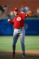 Paul Konerko of the Cincinnati Reds participates in a Major League Baseball game at Dodger Stadium during the 1998 season in Los Angeles, California. (Larry Goren/Four Seam Images)