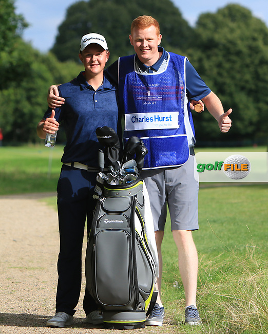 JR Galbraith (AM)(IRL) and his caddy on the 11th tee during Round 1 of the Northern Ireland Open at Galgorm Castle Golf Club, Ballymena Co. Antrim. 10/08/2017<br /> Picture: Golffile | Thos Caffrey<br /> <br /> <br /> All photo usage must carry mandatory copyright credit     (&copy; Golffile | Thos Caffrey)