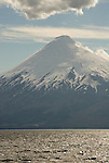 Chile, Lake Country: View of Osorno Volcano while riding across Lake Todos Los Santos..Photo #: ch632-33960..Photo copyright Lee Foster www.fostertravel.com, lee@fostertravel.com, 510-549-2202.