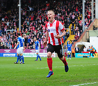 Lincoln City's Terry Hawkridge celebrates scoring the opening goal <br /> <br /> Photographer Chris Vaughan/CameraSport<br /> <br /> Vanarama National League - Lincoln City v Macclesfield Town - Saturday 22nd April 2017 - Sincil Bank - Lincoln<br /> <br /> World Copyright &copy; 2017 CameraSport. All rights reserved. 43 Linden Ave. Countesthorpe. Leicester. England. LE8 5PG - Tel: +44 (0) 116 277 4147 - admin@camerasport.com - www.camerasport.com