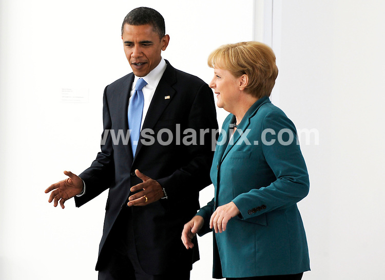 **ALL ROUND PICTURES FROM SOLARPIX.COM**.**SYNDICATION RIGHTS FOR UK AND SPAIN ONLY**.The German chancellor Angela Merkel welcomes US Senator for Illinois and candidate for US President  Barack Obama in Berlin. ..JOB REF:6904-CPR/Michael Gottschalk DATE:24_07_08.**MUST CREDIT SOLARPIX.COM OR DOUBLE FEE WILL BE CHARGED* *UNDER NO CIRCUMSTANCES IS THIS IMAGE TO BE REPRODUCED FOR ANY ONLINE EDITION WITHOUT PRIOR PERMISSION*