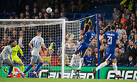 Antonio Rudiger of Chelsea scores his goal during the Carabao Cup round of 16 match between Chelsea and Everton at Stamford Bridge, London, England on 25 October 2017. Photo by Andy Rowland.