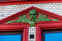 Architectural detail on a building facade. Alesund, Norway. The town is famous for its art nouveau (Jugendstil) architecture.