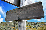 Sign for the Crawford Path near the summit of Mount Washington, New Hampshire, USA