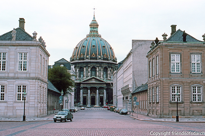 Copenhagen: Fredrick's Church from Amalienborg Palace. Designed by Nicolai Eigtved but re-designed in 1894 by Ferdinand Meldahl. Known as Marble Church. Largest church dome in Scandinavia.