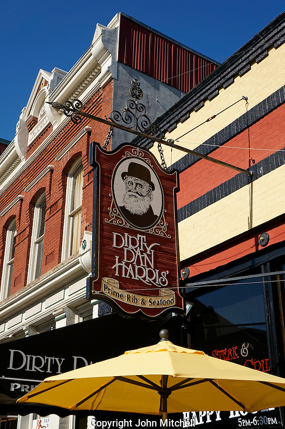 Dirty Dan Harris' steak and seafood restaurant in the historical Fairhaven district of Bellingham, Washington state, USA