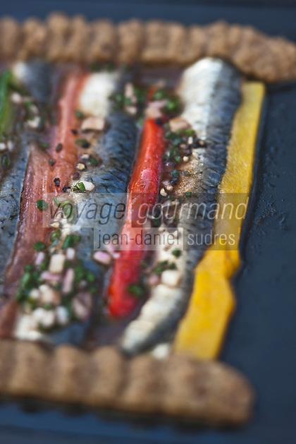 Europe/France/Aquitaine/33/Gironde/Bassin d'Arcachon/Pyla-sur-Mer: Sardines fraiches marinées au poivron, recette de l' Hôtel La Co(o)rniche