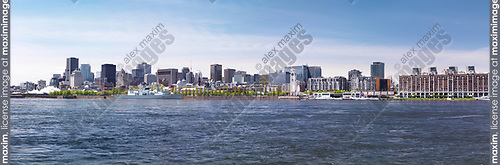 City of Montreal waterfront skyline panoramic daytime scenery, Quebec, Canada. Ville de Montréal, Québec, Canada 2017.