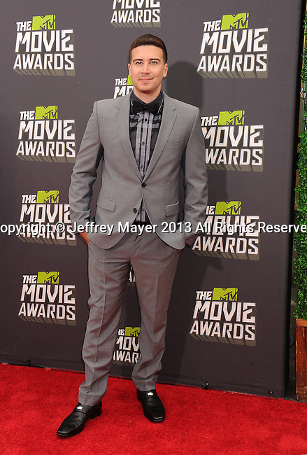 CULVER CITY, CA- APRIL 14:  TV personality Vinny Guadagnino arrives at the 2013 MTV Movie Awards at Sony Pictures Studios on April 14, 2013 in Culver City, California.