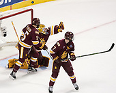Willie Raskob (UMD - 15), Hunter Miska (UMD - 35), Adam Johnson (UMD - 7) - The University of Denver Pioneers defeated the University of Minnesota Duluth Bulldogs 3-2 to win the national championship on Saturday, April 8, 2017, at the United Center in Chicago, Illinois.