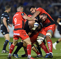 Tom Dunn of Bath Rugby takes on the Toulon defence. European Rugby Champions Cup match, between Bath Rugby and RC Toulon on December 16, 2017 at the Recreation Ground in Bath, England. Photo by: Patrick Khachfe / Onside Images