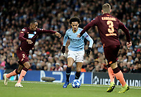 Manchester City's Leroy Sane under pressure from 1899 Hoffenheim's Joshua Brenet (left) and Pavel Kaderabek<br /> <br /> Photographer Rich Linley/CameraSport<br /> <br /> UEFA Champions League Group F - Manchester City v TSG 1899 Hoffenheim - Wednesday 12th December 2018 - The Etihad - Manchester<br />  <br /> World Copyright © 2018 CameraSport. All rights reserved. 43 Linden Ave. Countesthorpe. Leicester. England. LE8 5PG - Tel: +44 (0) 116 277 4147 - admin@camerasport.com - www.camerasport.com