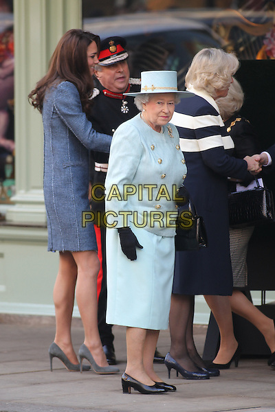 The Duchess of Cambridge, The Queen, The Duchess of Cornwall .Fortnum & Masons Royal visit by The Queen, The Duchess of Cambridge and The Duchess of Cornwall.  Piccadilly, London, UK..March 1st, 2012.royals royalty Catherine Middleton kate camilla parker bowles blue dress white stripe coat jacket side profile HRH Queen Elizabeth II hat.CAP/HIL.©John Hillcoat/Capital Pictures.