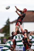 Joe Davies of the Dragons wins the ball at a lineout. Pre-season friendly match, between Ealing Trailfinders and the Dragons on August 11, 2018 at the Trailfinders Sports Ground in London, England. Photo by: Patrick Khachfe / Onside Images