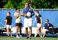 Florida International University women's soccer Head Coach Thomas Chestnutt before the game against the University of Florida on August 21, 2011 at Miami, Florida. Florida won the game 2-0. .