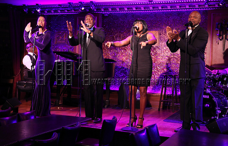 'Sing, Harlem, Sing!' - Ahmaya Knoelle Higginson, Elijah Ahmad Lewis. Bettina Pennon and Craig Stagg .performing at the 54 Below press preview on August 7, 2012 in New York City.
