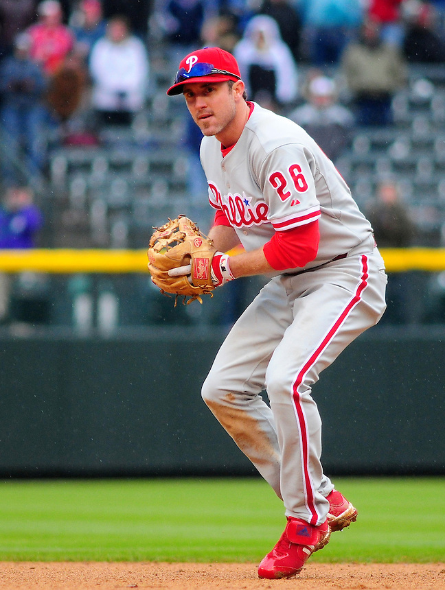 April 12, 2009: Phillies 2nd baseman Chase Utley during a game between the Philadelphia Phillies and the Colorado Rockies at Coors Field in Denver, Colorado. The Phillies beat the Rockies 7-5.