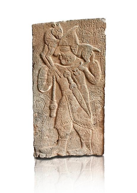 Pictures & images of the North Gate Hittite sculpture stele depicting Hittite man with a sheep on his shoulders. 8th century BC. Karatepe Aslantas Open-Air Museum (Karatepe-Aslantaş Açık Hava Müzesi), Osmaniye Province, Turkey. Against white background