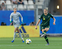 GRENOBLE, FRANCE - JUNE 18: Alanna Kennedy #14 of the Australian National Team passes the ball during a game between Jamaica and Australia at Stade des Alpes on June 18, 2019 in Grenoble, France.