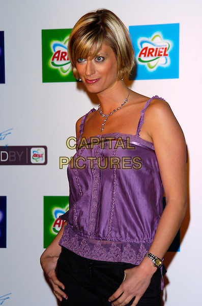 CAROLINE FARADAY.Ariel - private view & VIP launch party at Vinyl Factory, London, UK..October 26th, 2005.Ref: JH.half length purple singlet.www.capitalpictures.com.sales@capitalpictures.com.©Capital Pictures