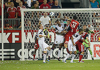 13 August 2011: Real Salt Lake defender Nat Borchers #6 tries to put a head on the ball during a game between Real Salt Lake and Toronto FC at BMO Field in Toronto..Toronto FC won 1-0.
