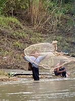 Fishing on the Lay Mro River, Rakhine State, Myanmar