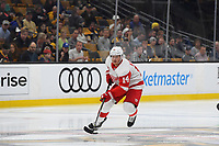 September 26, 2018: Detroit Red Wings right wing Gustav Nyquist (14) plays through the neutral zone during the NHL pre-season game between the Detroit Red Wings and the Boston Bruins held at TD Garden, in Boston, Mass. Detroit defeats Boston 3-2 in overtime. Eric Canha/CSM