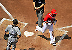 28 May 2011: Washington Nationals outfielder Laynce Nix crosses the plate after hitting a solo homer against the San Diego Padres at Nationals Park in Washington, District of Columbia. The Padres defeated the Nationals 2-1 to even their 3-game series. Mandatory Credit: Ed Wolfstein Photo
