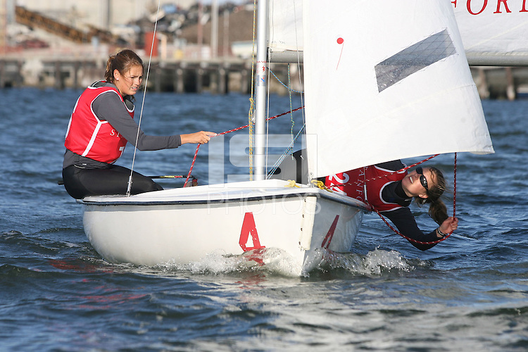 25 October 2006: Evan Brown and Carrie Denning during sailing practice in Redwood Shores, CA.