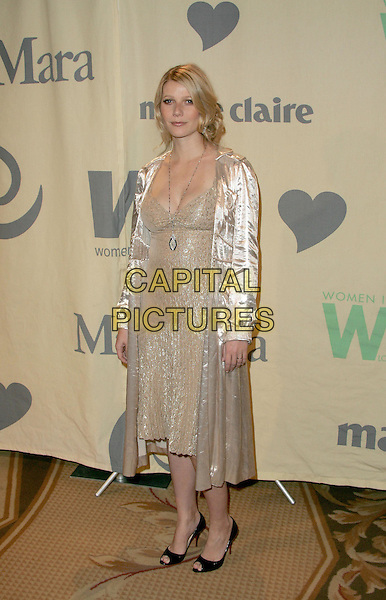 "GWYNETH PALTROW.Attend ""A Family Affair: Women in Film celebrates The Paltrow Family"" 2004 Crystal & Lucy Awards held at The Westin Century Plaza Hotel in Century City, California.June 18, 2004.full length, full-length, beige, cream, silk, satin dress, coat, sheer, jacket.www.capitalpictures.com.sales@capitalpictures.com.©Debbie VanStory/Capital Pictures.."