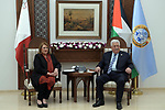 Palestinian President Mahmoud Abbas meets with Malta's President Marie-Louise Coleiro Preca, in the West Bank city Ramallah, on January 31, 2019. Photo by Thaer Ganaim