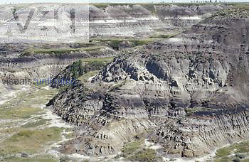 Horseshoe Canyon, Alberta, Canada where many dinosaur fossils have been found in the 70 mya exposed strata.