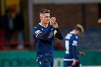 8th February 2020; Dens Park, Dundee, Scotland; Scottish Championship Football, Dundee versus Partick Thistle; Josh Meekings of Dundee applauds the fans at the end of the match