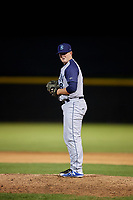 Brooklyn Cyclones relief pitcher Billy Oxford (18) gets ready to deliver a pitch during a game against the Tri-City ValleyCats on August 21, 2018 at Joseph L. Bruno Stadium in Troy, New York.  Tri-City defeated Brooklyn 5-2.  (Mike Janes/Four Seam Images)