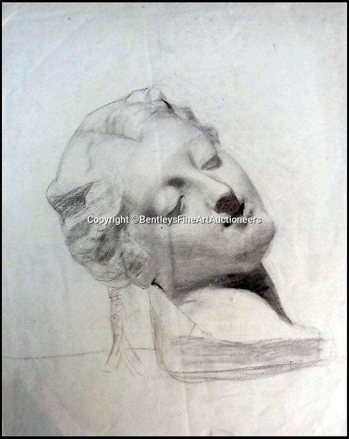 BNPS.co.uk (01202) 558833Pic: BentleysFineArtAuctioneers/BNPS<br /> <br /> Study of a female head.<br /> <br /> Newly discovered collection reveals that LS Lowry painted a lot more than just matchstick men and matchstick cats and dogs...<br /> <br /> The never-seen-before collection of drawings by the famous Lancashire artist are a far cry from his iconic matchstick figures and have been snapped up by avid collectors for almost £90,000.<br /> <br /> The mostly nude studies show a different side of the Salford artist, whose urban scenes often sell for millions of pounds, and demonstrate that despite being dubbed a 'naive Sunday painter' he had considerable talent for drawing people.<br /> <br /> The 19 pictures are mostly signed and dated to 1911 to 1919, when Lowry was studying art in his spare time before he developed his signature style.<br /> <br /> The seller, who wants to remain anonymous, inherited the portfolio from their grandfather and did not believe they could be Lowry when they saw the signature.