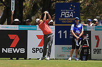 Rhein Gibson (AUS) on the 11th tee during Round 1 of the Australian PGA Championship at  RACV Royal Pines Resort, Gold Coast, Queensland, Australia. 19/12/2019.<br /> Picture Thos Caffrey / Golffile.ie<br /> <br /> All photo usage must carry mandatory copyright credit (© Golffile | Thos Caffrey)