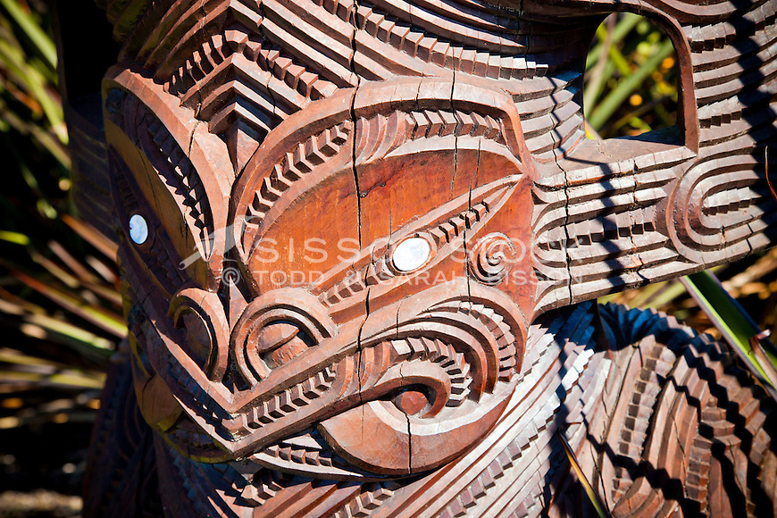Traditional Maori carving in Rotorua, Bay of Plenty, New Zealand - stock photo, canvas, fine art print