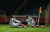 Dujon Sterling (14) (Chelsea) of England U19 celebrates his winning goal with Trevoh Chalobah (Chelsea) of England U19 during the International friendly match between England U19 and Bulgaria U19 at Adams Park, High Wycombe, England on 10 October 2016. Photo by Andy Rowland.