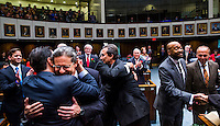 TALLAHASSEE, FLA. 11/18/14-ORGSESS111814CH-<br /> Sen. Miguel Diaz de la Portilla, R-Miami, facing camera left, is embraced by his brother former Sen. Alex Diaz de la Portilla as Sen. Rene Garcia, R-Hialeah, center, and Sen. Oscar Braynon II, D-Miami, right, are congratulated after taking the oath of office during Organizational Session, Nov. 18, 2014 at the Capitol in Tallahassee.<br /> <br /> COLIN HACKLEY PHOTO