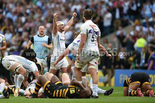 Jack Yeandle of Exeter Chiefs celebrates at the final whistle. Aviva Premiership Final, between Wasps and Exeter Chiefs on May 27, 2017 at Twickenham Stadium in London, England. Photo by: Patrick Khachfe / JMP
