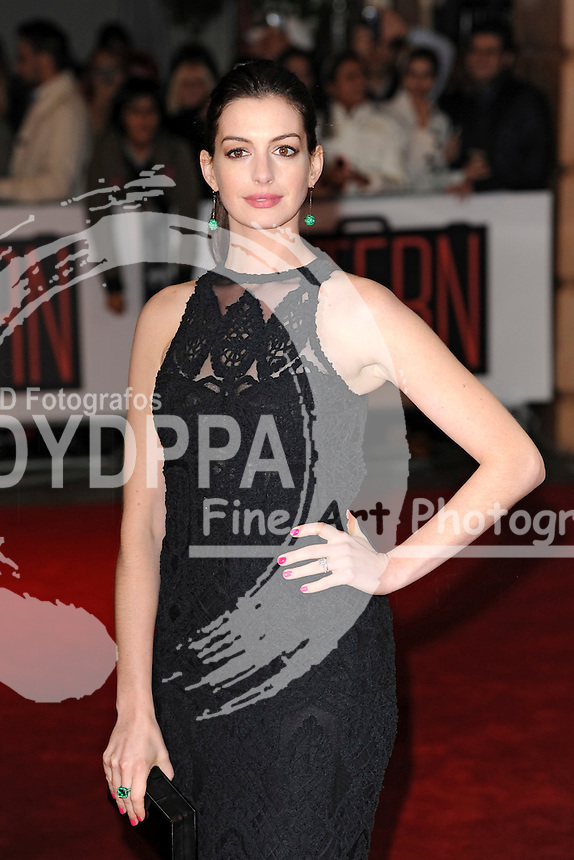 Anne Hathaway attends the 'The Intern' European Premiere at Vue Leicester Square in London on September 27, 2015